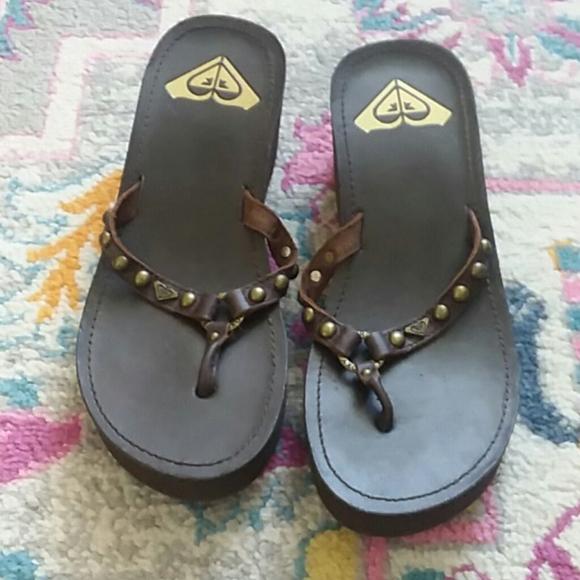Faux Leather Roxy Wedge Flip Flops